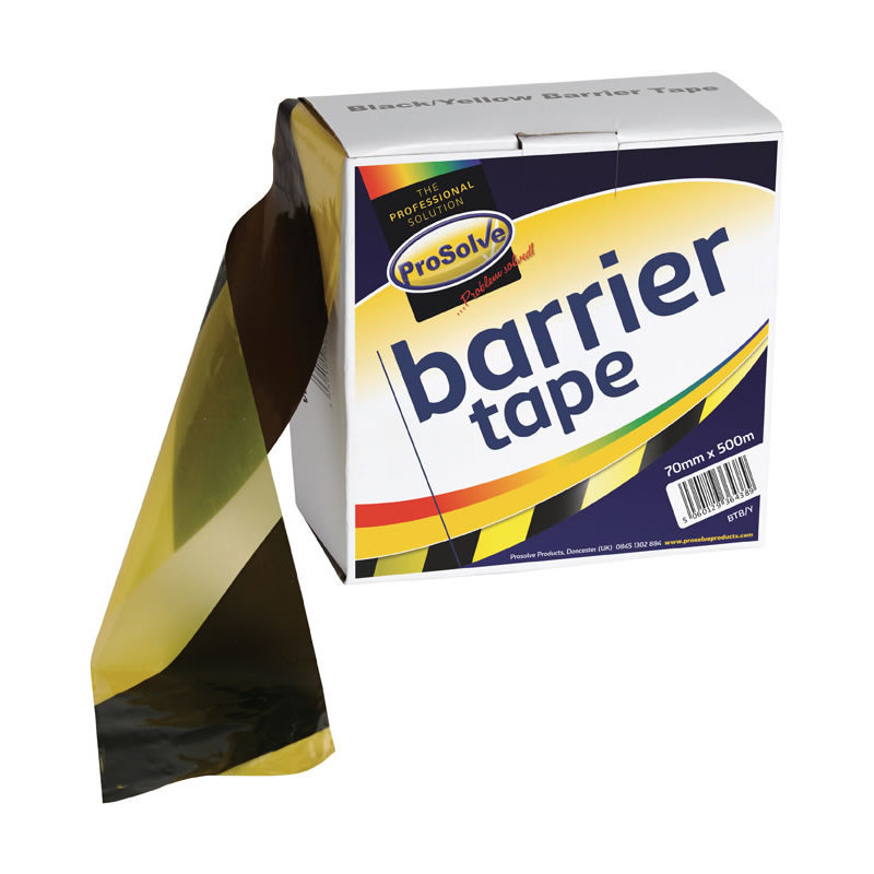 Prosolve Black & Yellow Barrier Tape (Box of 10 x 500m Rolls) /