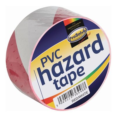 Prosolve Red & White Self Adhesive Hazard Floor Tape (Box of 24 x 33m Rolls)