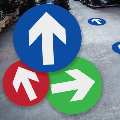 Blue Arrow Sign Floor Stickers (Box of 10)