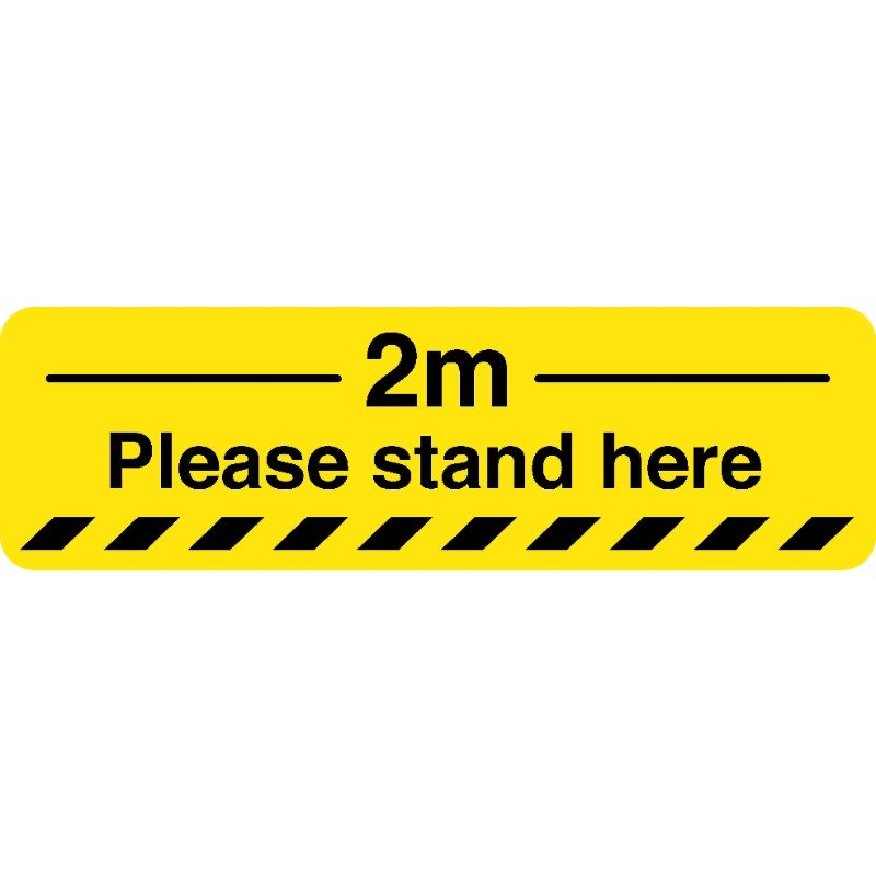 Please Stand Here Caution Floor Stickers (Box Of 10) /