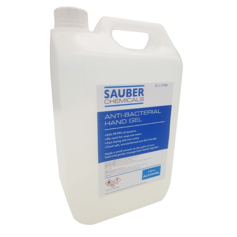 Sauber Chemicals Hand Sanitiser Gel 75% Alcohol (5L) /