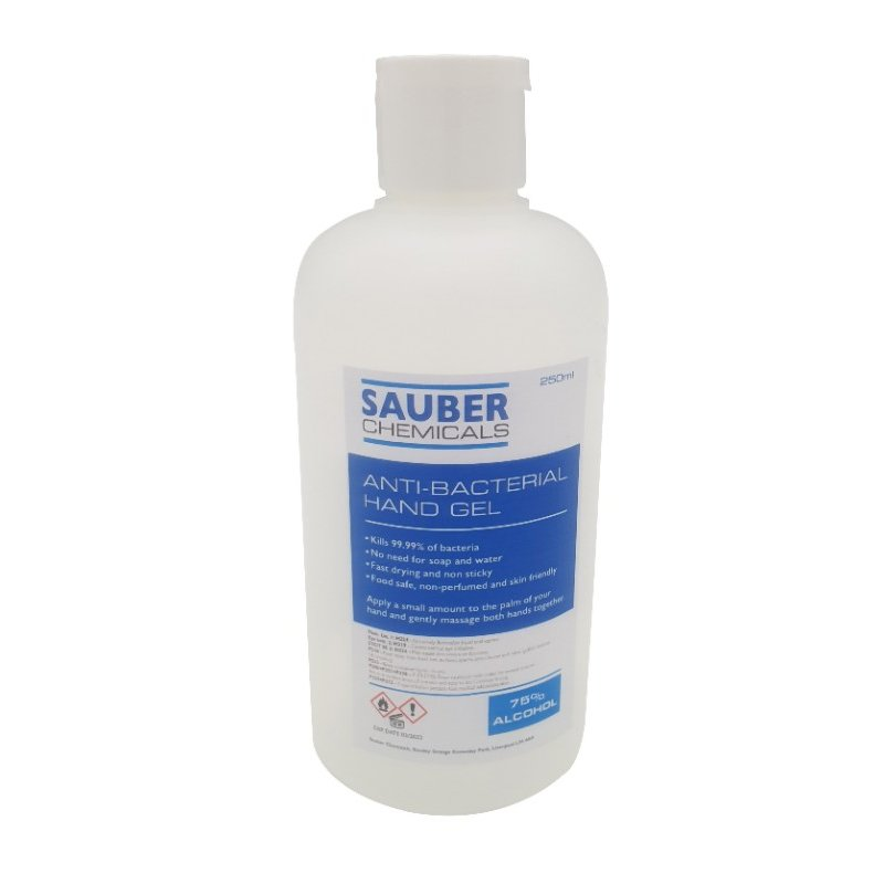Sauber Chemicals Hand Sanitiser Gel 75% Alcohol (10 x 250ml) /