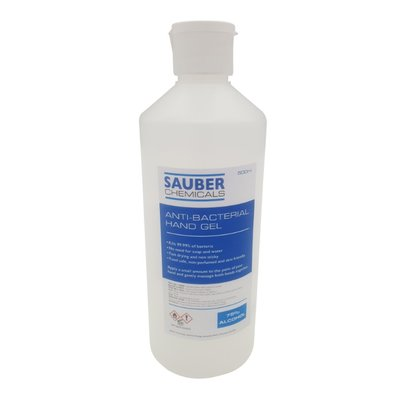 Sauber Chemicals Hand Sanitiser Gel 75% Alcohol (6 x 500ml)