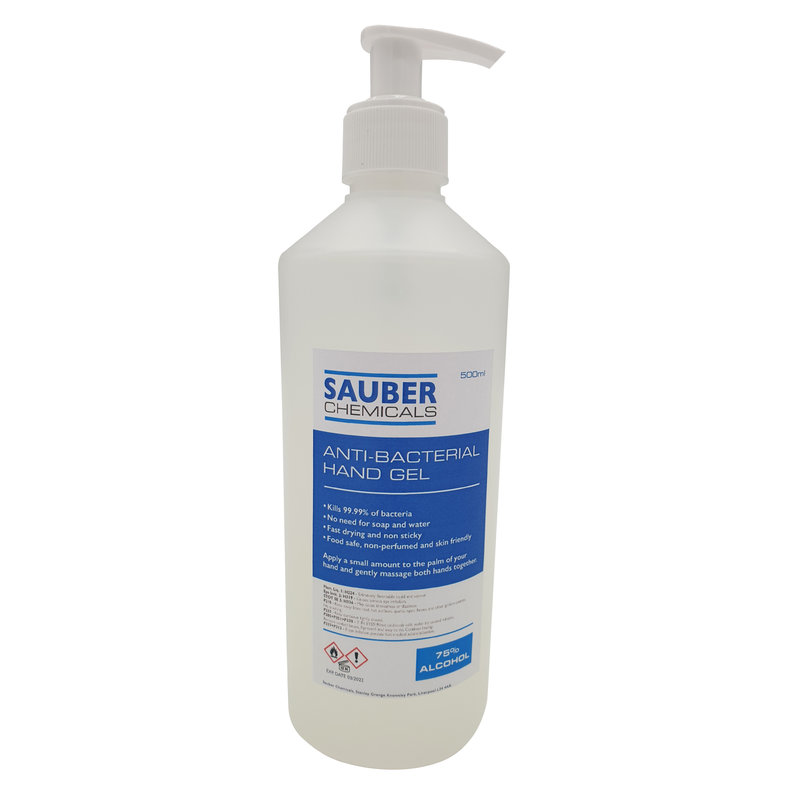 Sauber Chemicals Hand Sanitiser Gel 75% Alcohol With Pump Dispenser (6 x 500ml) /
