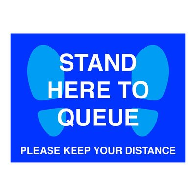 Blue Stand Here To Queue Floor Stickers (Box of 10)