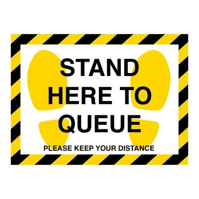 Yellow & Black Stand Here To Queue Floor Stickers (Box of 10)